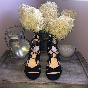 XOXO Soft Black suede crisscross heel